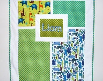 Personalized Custom Baby Quilt with Name or Monogram - You get to choose the fabrics