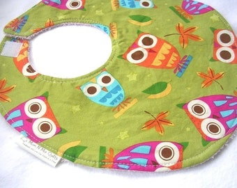 Baby Girl Bib - On a Whim Owls in Pistachio - fits babies and toddlers