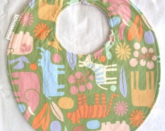 2D Zoo in Sage - Boutique Bib - terry cloth backing with snag-free Velcro closure