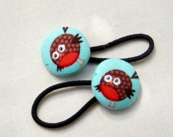 Red Robins on Aqua - Ponytail holders - fabric covered button hair ties