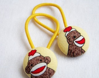 Ponytail Holders - Sock Monkeys in Yellow made from Fabric Covered Buttons