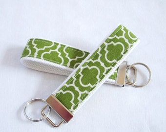 Wristlet Key Fob Key Chain - Metro Living Tiles in Grass
