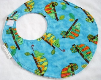 Chameleon - Cotton Bib in bright chameleon print for baby or toddler
