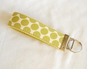 Wristlet Key Fob Key Chain in Amy Butler Full Moon Polka Dot in Lime