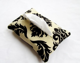 Pocket Tissue Cozy Cover - Aviary 2 Damask in Cavern