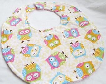 Baby Girl Bib - Sweet Owls - cotton bib with terry cloth backing