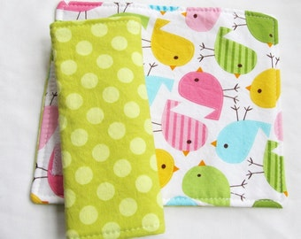 Reversible Car Seat Strap Covers - Birds in Spring - Seatbelt covers