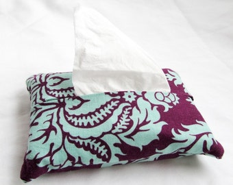 Pocket Tissue Cozy Cover - Aviary 2 Damask in Plum