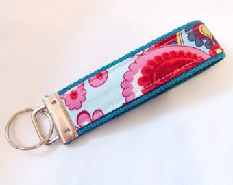 Wristlet Key Fob Key Chain in Amy Butler French Wallpaper in Duck Egg - LIMTED AVAILABILITY -