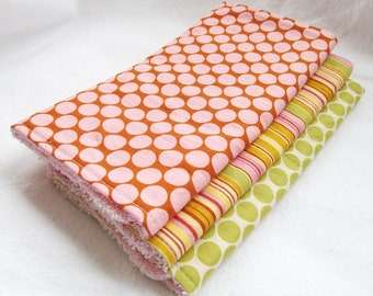 Baby Girl Burp Cloth Set - Amy Butler Full Moon Polka Dot in Camel and Lime with Oxford Stripe - Set of 3 coordinating burp pads