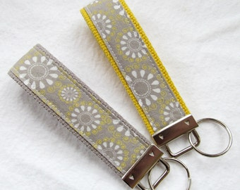 Wristlet Key Fob Key Chain in Grey & Yellow Sunburst - Choose One in Your Choice of Yellow or Gray Webbing