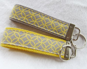 Wristlet Key Fob Key Chain in Grey & Yellow Cathedral Window - Choose One in Your Choice of Yellow or Gray Webbing