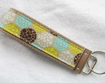 Wristlet Key Fob Key Chain - Pebbles in Turquoise - Fabric Keychain