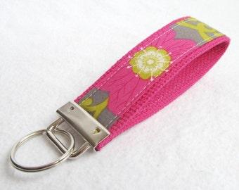 Wristlet Key Fob Key Chain in Rhapsody Floral - Fabric key chain with cotton webbing
