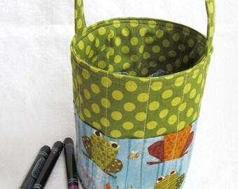 Creative Kids Art Bucket - Feelin Froggy - Fabric Basket Art Supply Organizer