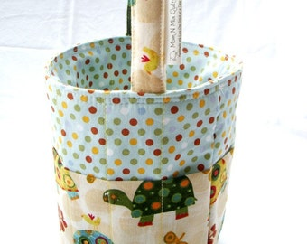 Creative Kids Art Bucket - Turtles & Dots - Fabric Basket Art Supply Organizer - Great Easter Basket Ready to Ship