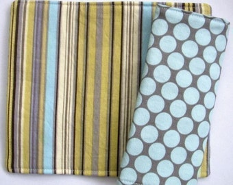 Reversible Car Seat Strap Covers - Amy Butler Dots in Blue and Lotus Stripe in Lime