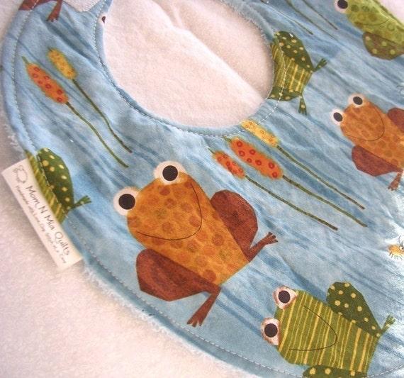 Baby Boy Bib - Feelin' Froggy - Boutique Bib with Terry Cloth Backing