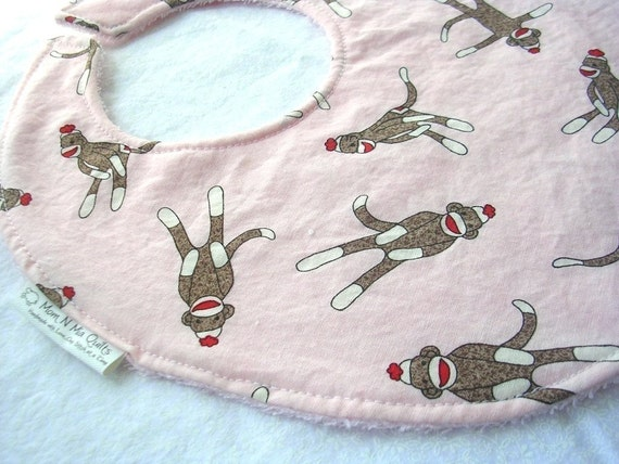 Sock Monkeys on Pink - Boutique Bib - terry cloth backing with snag free Velcro closure