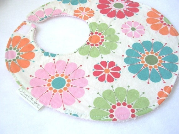 RILEY Floral - Boutique Bib - pink terry cloth backing w snag free velcro closure