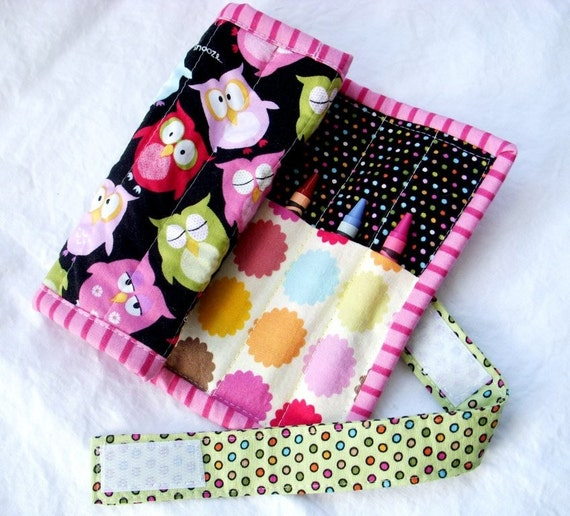 Wrap It Up Crayon Roll - Rainbow Owls - Crayon & Marker Organizer