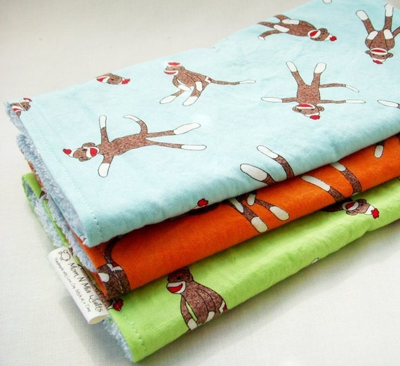Boutique Burp Cloth Gift Set for Baby Girl or Boy  - Sock Monkey Trio - Lime, Orange & Aqua