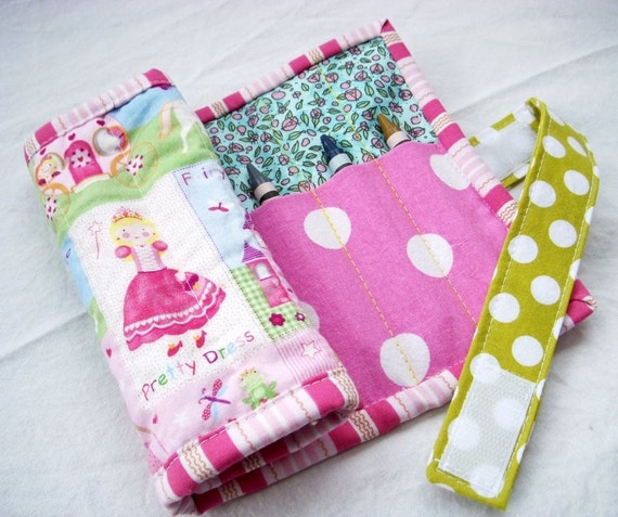 Wrap It Up Crayon Roll - Sweet Little Princess - Made to Order Crayon and Marker Holder