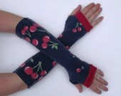 Sweet Cherry Navy Cotton Arm Warmers