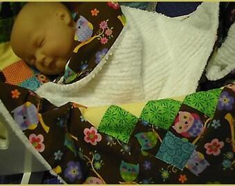 OWL Bassinet Stroller Baby Quilt blanket w Chenille Back for baby boy