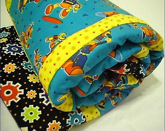 Robot Baby Quilt, Boy, crib bedding, blanket, nursery, shower gift, teal blue, yellow, black, gears, colorful, children, toddler, cotton