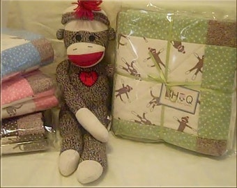 FUNKY SOCK MONKEY green & cream  Flannel Baby Crib Quilt