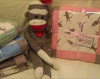 FUNKY SOCK MONKEY pink & cream Flannel Baby Crib Quilt