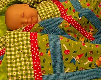 Wee Folks Gnome Crib Quilt for Baby or Toddlerl Crib Quilt for Baby or Toddler