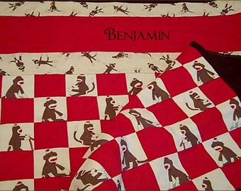 Personalized Sock Monkey Crib Quilt