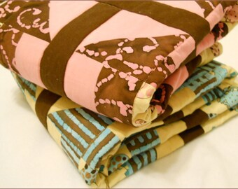 Elephants in pink or blue Crib Quilt with brown batik for  Girl or Boy with Minky back option