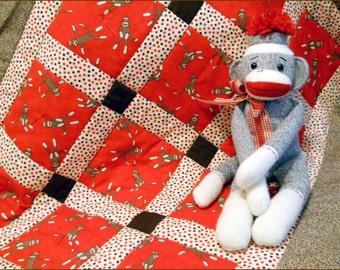 FUNKY MONKEY Red Crib Quilt for Baby Boy or Girl