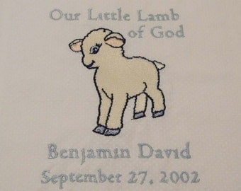 Little Lamb Christening / Baptism quilt / blanket for baby.  White cotton pin-dot / free embroidery