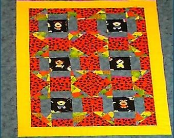 Puppy Dog Baby Quilt - Bassinet Quilt in Blue, Red, Yellow - Bassinet or Cradle Blanket - Baby Shower Gift - Puppy Paws - Newborn - Nursery