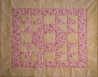 Organic Baby Girl Bassinet Quilt in wedding ring pattern - Sweet Jane - Pink - baby shower gift - handmade bassinet blanket - stroller quilt