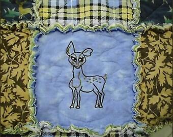 Baby Cotton-Flannel Rag Quilt with Original Art Work - Raggy -  Deer Embroidered - Art - Baby Blanket - Baby Shower Gift - Woodland - Nature