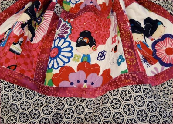 Japanese Kaori Kokeshi  Dolls Quilt / Blanket for baby girl