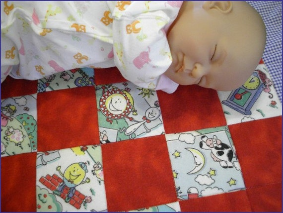 Nursery Rhyme Tiny Tag - A - Long Cotton-Flannel Stroller / Bassinet Baby Quilt