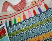 MEASURING TAPE RULER FABRIC Pencil and Art Tote in Blue with Red Detail