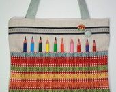 MEASURING TAPE RULER FABRIC Pencil and Art Tote in Red with Blue Detail