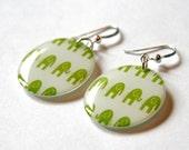 Green Baby Elephant Walk Medium Resin Earrings with Sterling Ear Wires
