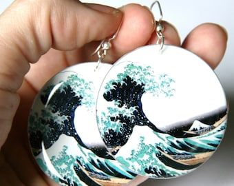 Great Wave Design Large Resin Earrings with Sterling Ear Wires