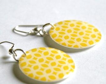 Bright Lemon Yellow and White Design Medium Resin Earrings