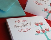 Birthday Cupcakes- in red, set of 30
