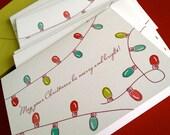 Christmas Lights greeting cards- single card