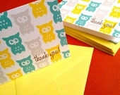 Owl thank you cards in yellow, set of 6